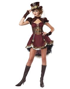 Steampunk is many things: a fashion statement, a literary genre, an attitude. And this Adult Steampunk Lady Costume captures that attitude in a fun, flirty way. Add buckled or laced Victorian-style boots to complete the look. Plus Size Steampunk, Moda Steampunk, Steampunk Couture, Steampunk Cosplay, Steampunk Outfits, Steampunk Clothing, Steampunk Dress, Steampunk Fashion Women, Gothic Fashion