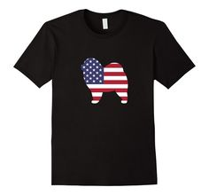 Men's Chow Chow Dog American Flag 4th Of July Patriotic T-shirt 2XL Black