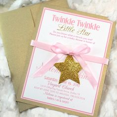 Twinke Twinkle Little Star Gold Baby Shower Invitations handmade set 20 Shimmery Gold Sparkle Glitter Pale Pink Girl Theme Printed handmade