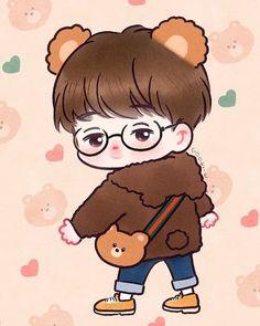 Nini the Bear Kpop Drawings, Kawaii Drawings, Cute Drawings, Exo Cartoon, Cartoon Memes, Kai Exo, Chanyeol, Chibi, Kpop Anime