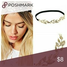 Goldtone leaf elastic headband Cute goldtone leaf with rhinestone headband for that little extra touch Accessories Hair Accessories