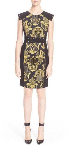 Versace Collection Handprint Cap Sleeve Sheath Dress