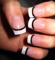 Black lined French mani