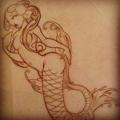 """I'm excited to tattoo her on my boy Thomas next week @castirontattoos #mermaid"""