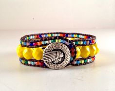 Triple Leather Cuff Beaded Leather Wrap Indian by BaileyGirlBeads, $40.00
