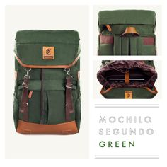 """MOCHILO SEGUNDO  GREEN  Rp. 275.000  FREE SHIPPING ALL OVER INDONESIA  Dimension: 31cm x 14cm x 50 cm 21 Litre 15"""" Laptop Sleeve  Material: High Quality Canvas WR Faux Leather Accessories Leather Accessories YKK Zipper"""