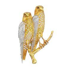 Estate+Betteridge+Collection+Yellow+&+White+Diamond+Pair+of+Hawks+Brooch
