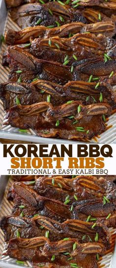 Korean Kalbi BBQ Short Ribs - Dinner, then Dessert Korean Kalbi BBQ Short Ribs are incredibly flavorful and sweet, made from flanken short ribs marinated all day long in a soy garlic marinade with grated pears and grilled to perfection! Beef Short Ribs Oven, Grilled Short Ribs, Bbq Short Ribs, Ribs On Grill, Grilled Beef Ribs, Beef Ribs Marinade, Beef Ribs Recipe, Kalbi Recipe Oven, Korean Beef Marinade