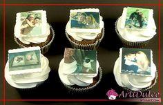 Cupcakes con impresiones de azúcar