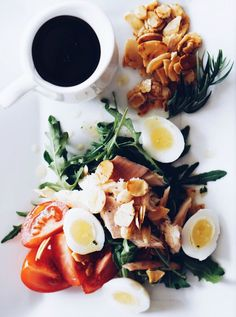 smoked trout and quail egg nicoise salad with truffle oil viniagrette
