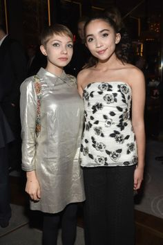 NEW YORK, NY - NOVEMBER 09: Writer Tavi Gevinson (L) and actress Rowan Blanchard attend the 2015 Glamour Women of The Year Awards dinner hosted by Cindi Leive at The Rainbow Room on November 9, 2015 in New York City. (Photo by Jamie McCarthy/Getty Images for Glamour)