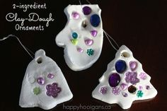 How to make bright white clay dough ornaments. Easy recipe with baking soda and cornstarch. Great for homemade Christmas ornaments. Christmas Ornament Crafts, Preschool Christmas, Christmas Crafts For Kids, Christmas Activities, Homemade Christmas, Christmas Projects, Winter Christmas, Holiday Crafts, Holiday Fun