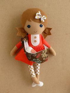 Reserved for Joy  Fabric Doll Rag Doll Light Brown by rovingovine