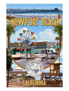 Newport Beach, California - Newport Beach Montage Posters par Lantern Press sur AllPosters.fr
