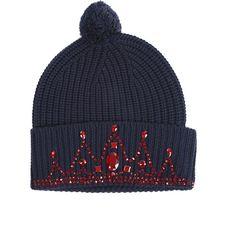 Markus Lupfer Jewelstone Tiara Beanie (430 RON) ❤ liked on Polyvore featuring accessories, hats, sale, women, navy blue beanie, beanie cap, merino wool hat, merino wool beanie and pom pom beanie hat