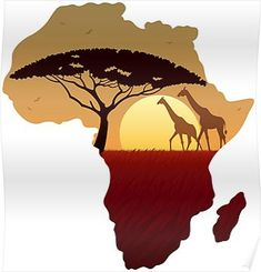 'Africa Map Landscape' Poster by Malchev - African Tatoo Africa, Africa Tattoos, African Artwork, African Art Paintings, Afrika Festival, Africa Drawing, Africa Continent, Afrique Art, African Sunset