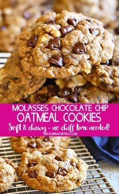 Molasses Chocolate Chip Oatmeal Cookies are a soft & chewy oatmeal cookie recipe that is packed full of walnuts & chocolate chips. Perfect for the extreme cookie lover!