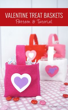 More Valentine's Day Crafts! Felt Baskets by Stephanie Theisen -These felt Valentine's Day baskets are quick and inexpensive to make.  They are fun to make with kids as long as they have some help with the scissors and hot glue.  They can decorate them however they like…  think glitter!  They can be filled with candy, snacks, toys or anything you would like.