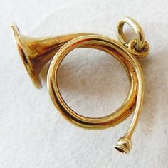 Vintage Delicate English Fox Hunting Horn 14k Gold Charm ~ A Genuine Find