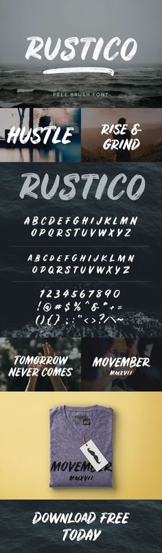 Rustico is a brand new free font from Hustle Supply Co.  It is an all-caps typeface that is bold and features authentic brush texture and an italicized stance.This font is a great way to make a statement in your apparel, branding, marketing and web desi…