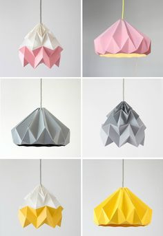 Studio Snowpuppe: Moth Paper Origami Lamps in pink and white, grey, gold yellow and white // Chestnut Paper Origami Lampshade in pink, grey and gold yellow