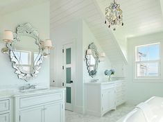 Seaside Residence by Donna Elle Seaside Living - love the chandelier and mirrors