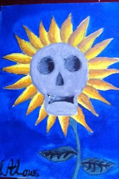 A skull in the centre of a sunflower. This can show that even in some of the saddest moments there is still hope and joy.- painted by L.A.Laws
