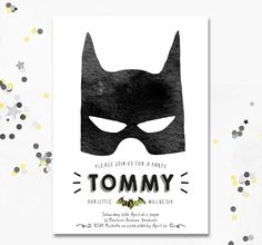 Batman Invite. This superhero invite can be altered for any age, perfect for a…