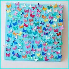 Vlindertjes, gekleurd met vetkrijt.