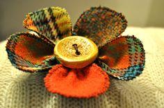 TWEED WOOL coat scarf pin button vintage tartan yellow turquoise orange BROOCH L
