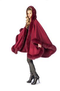 madisonavemall Real Fur Real Fox Cashmere Hooded Cashmere Fox Trimcashmere Cape