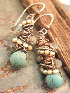 Tangled earrings, Copper, Silver, Magnesite Turquoise, seed Pearls, and Labradorite, ThePurpleLilyDesigns. $30.00, via Etsy.