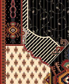 dupatta Textiles, Textile Patterns, Textile Design, Baroque Pattern, Pattern Art, Pattern Design, Native American Patterns, Border Embroidery Designs, Vintage Borders