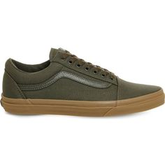 Vans Old skool trainers ($58) ❤ liked on Polyvore featuring shoes, sneakers, retro shoes, striped shoes, lace shoes, green sneakers and vans trainers