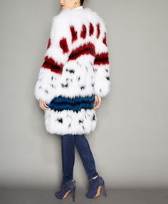 The Fur Vault Printed Fox Fur Coat - WHITE/MULTI XL
