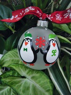 Our First Christmas Penguin Ornament - Personalized Christmas Hand Painted Glass Ball