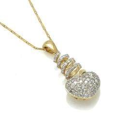 $395 : 14k Yellow Gold 3/4ct TDW Diamond Heart Necklace (H-I, I2-I3)