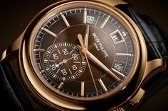 Patek philippe unites in the chronograph its two signature complications beloved by connoisseurs: a self-winding flyback chronograph and the p Watch News, Perpetual Calendar, Patek Philippe, Omega Watch, Chronograph, Display, Accessories, Floor Space, Billboard