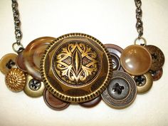 Vintage Button Necklace BUTTON JEWELRY  Gold by LilyBankButtonry, $40.00