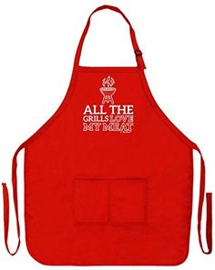 All the Grills Love My Meat Funny Apron for Kitchen BBQ Barbecue Cooking Tailgate Grilling Bacon Two Pocket Apron for Tailgating BBQ Grill Pit Master Red ** To view further for this item, visit the image link.