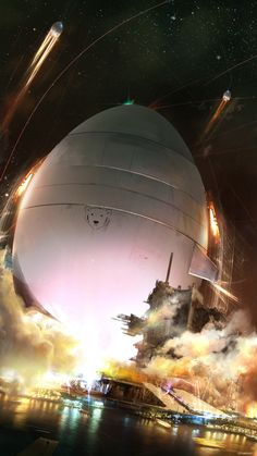 """This illustration of a giant eggshaped spaceship is possibly going to hatch on some other planet. We shall call it """"The Seed"""". Unnamed illustration by Cristian Chihaia."""