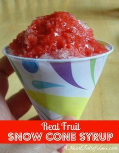 Real fruit snow cone syrup (look for snow cone cups/straws at Party City & blend ice in Vitamix). Huge hit with the kids with the addition of a bit of Italian grapefruit soda