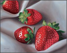 Strawberries On Linen, sold, prints available
