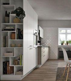 Italian contemporary modern kitchen design Stosa R… Kitchen Chairs For Sale, Home Decor Kitchen, Kitchen Interior, Home Kitchens, Kitchen Shelves, Open Shelves, Modern Shelving, Cuisines Design, Küchen Design
