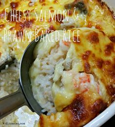 We are the DinoFamily 我們是恐龍家族: Cheesy Salmon & Prawn Baked Rice Baked Rice, Prawn, Mashed Potatoes, Salmon, Dishes, Chicken, Baking, Family Life, Eat