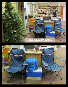 Decorating your classroom with a camping theme? The Library Patch shares pictures of her Camp Read S'more themed library. Fun ideas for your library or classroom! Library Themes, Library Displays, Library Ideas, Book Displays, Library Design, School Themes, Classroom Themes, School Events, Classroom Camping Theme