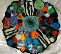 Textile Art, Felted Center-piece for the Table, or Wall Hanging