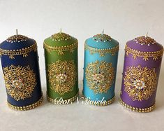 Unscented wax pillar decorated with henna mandala/jewel tone/henna candle/indian wedding/unique/gift for mom/eid decor/wedding centerpieces