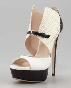 Black/White trend is hot right now!  Buy my Monti Buckle-Front Shootie by Ruthie Davis at NeimanMarcus.com