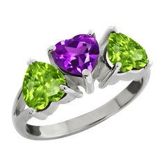 3 Carat Amethyst and Peridot Heart Ring by ElizabethJewelryInc, $36.99